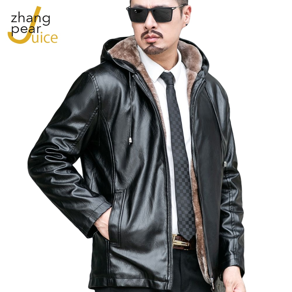 Winter Spring Mens Thicken Casual Long Sleeve Fur Leather Jacket Coats Men Solid PU Faux