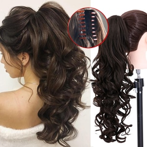 AOSI Synthetic Long Wavy Claw Ponytail Clip in Hair Extensions Pony Tail Hairpiece Black Brown Blonde Heat Resistant Women