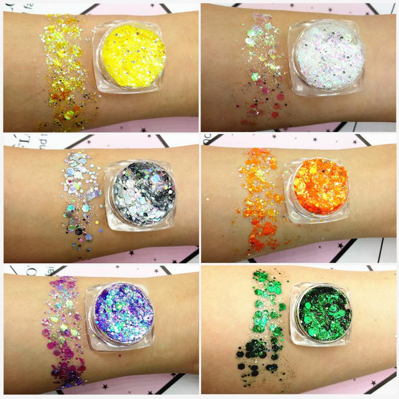 Diamond Glitter Eyeshadow Palette Makeup 19 Color Nail Mermaid Sequins Gel Eyeshadow Pigment Cosmeti
