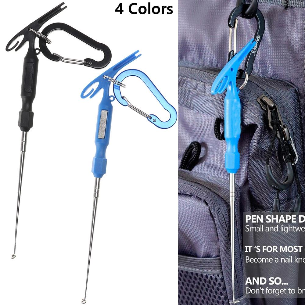 2 Pcs/Set Universal Quick Knot Tying Tools Fishhook Detacher+Carabiner Loop Tyer Hook Remover Fly Fishing  Multi Accessories