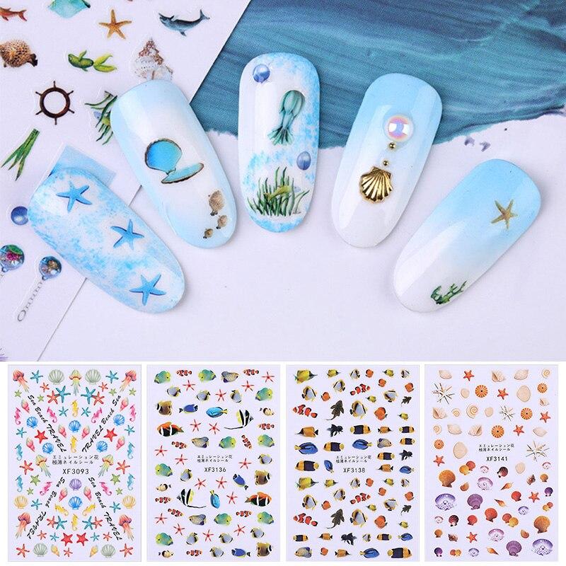 1 Sheet 3D Nail Sticker Colorful Ocean Summer Beach Nail Art Transfer Stickers Nail DIY Design Decorations Accessories