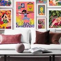 Mode fille chat mur Art toile peinture fleurs affiches imprime nordique affiche mur photos pour salon decor a la maison sans cadre