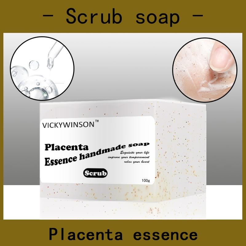 Placenta essence scrub soap handmade Soap 100g Amino acid soaps moisturizing cream anti-aging algae extract for brightening nicole soaps beveler planer wood box for handmade soap making tools