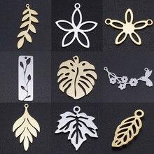 5 pcs/lot fleur feuille bricolage breloques en gros 100% en acier inoxydable naturel oiseau connecteurs charme tortue feuilles bijoux pendentif