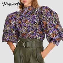 Za blouse women Fashion Floral Print Lantern sleeve Blouses roupa feminina Vintage Plus size ladies tops Office rose shirt blusa