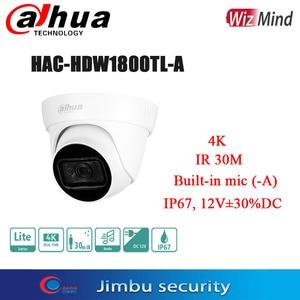 dahua 4K 8MP Real-time HDCVI IR Eyeball Camera HAC-HDW1800TL-A   Built-in mic (-A)  Max. IR length 30m, Smart IR IP67, 12V±30%DC
