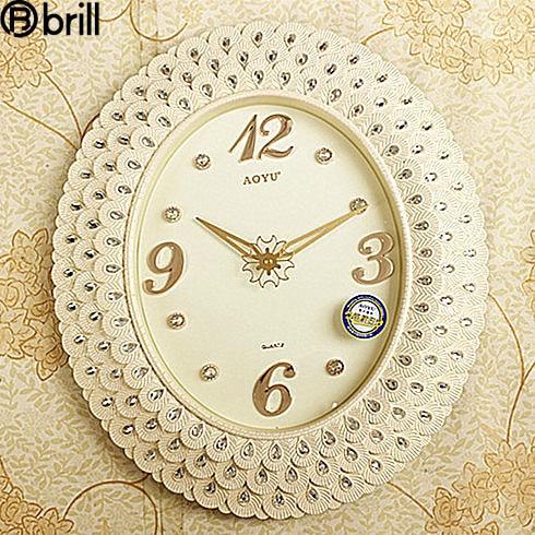 Garden Retro Art Wall Clocks Silent Simple Retro Modern Wall Clocks Living Room Iron Antique Inlaid Diamond Clock Silent Clock 5