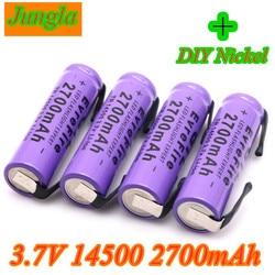 Novo 14500 bateria de lítio bateria de lítio recarregável bateria de soldagem níquel folha baterias 3.7 v 2700 mah para tocha led lanterna brinquedo