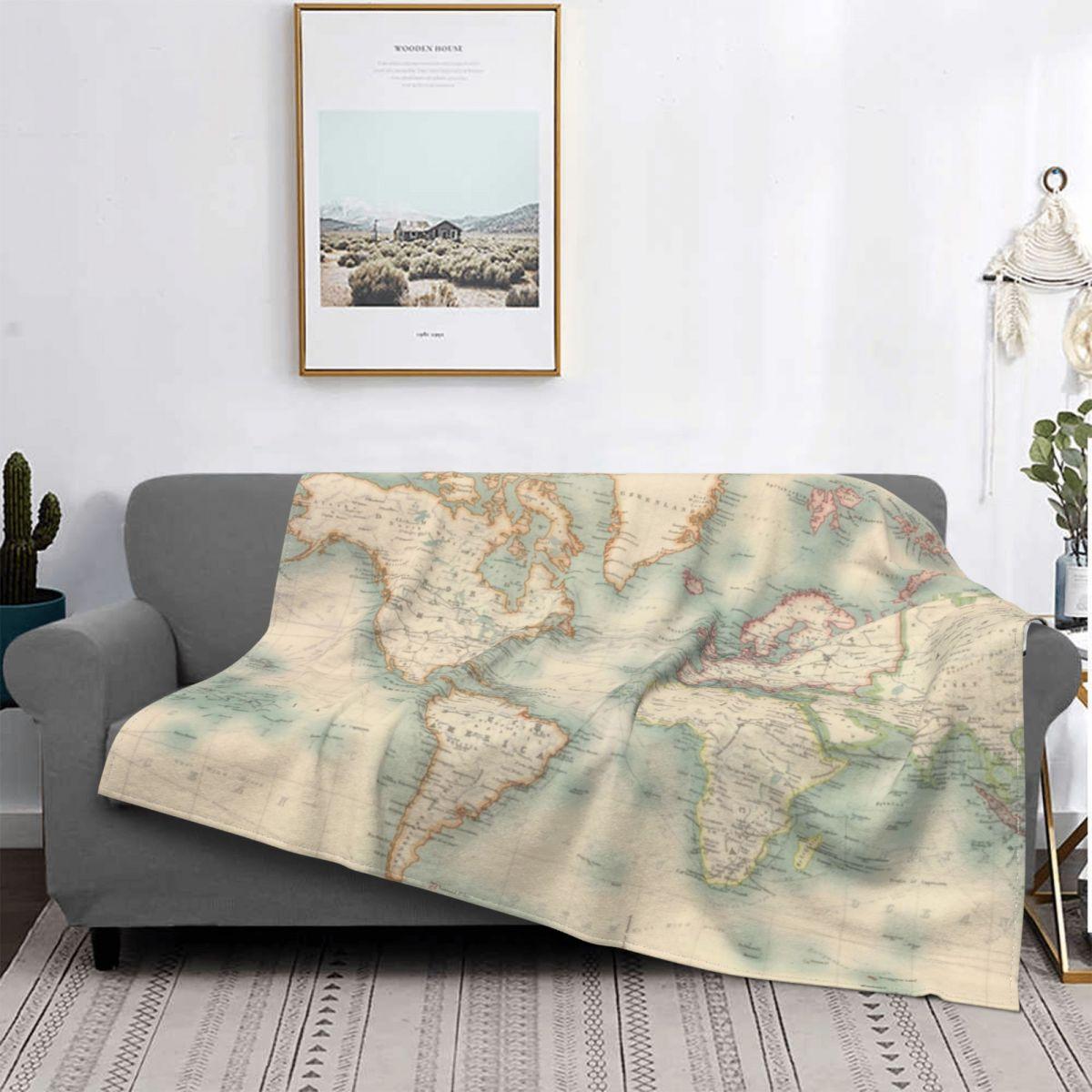 Blanket خريطة العالم 1911 خريطة العالم بطانية الصوف طباعة المحمولة سوبر الدافئة رمي بطانية للنوم غرفة نوم البساط قطعة