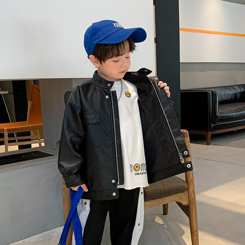 in the spring of 2018 new wings and big bag leather handbag Boy's leather coat baby boys in the spring and autumn of 2021 the new children in the western style leather jackets autumn ha