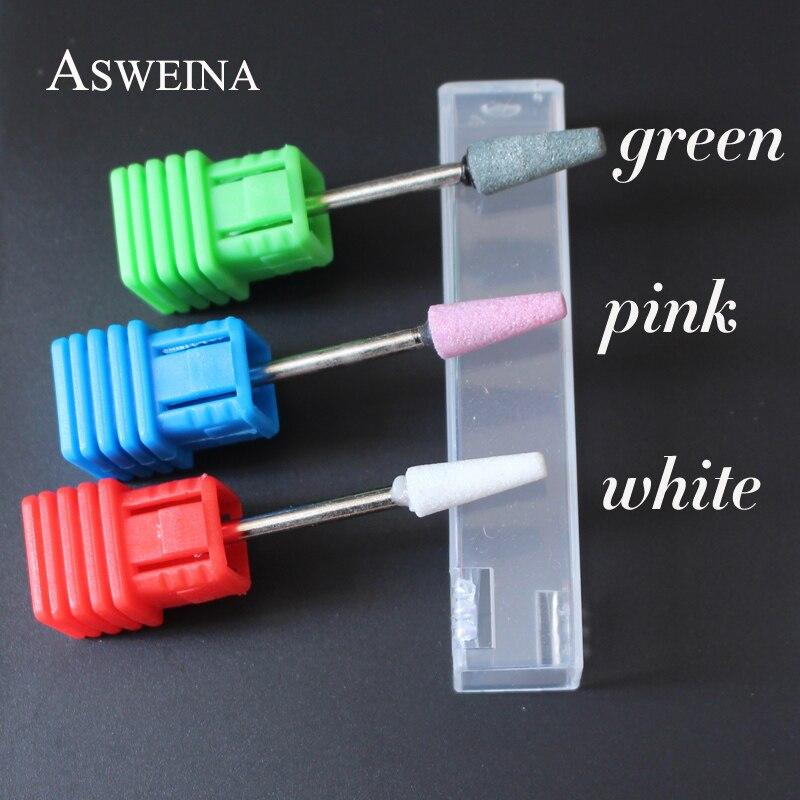 """Asweina 3/32 """"cerâmica pedra rebarbas broca do prego cortador de 3 tamanho escolha para profissional manicure elétrica brocas prego acessório"""