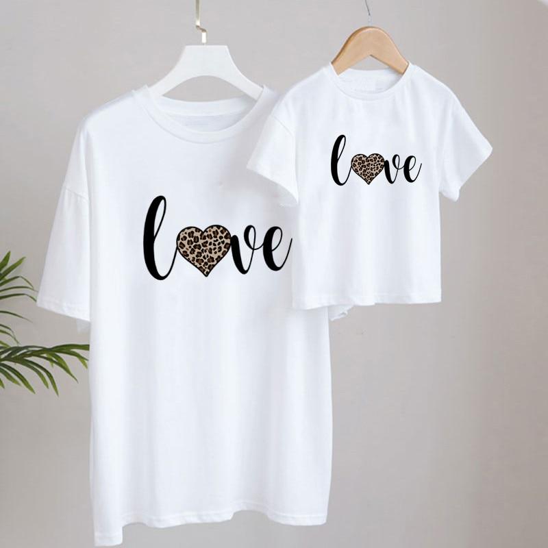 Leopard Heart Love Print Family Matching T shirt Summer Short Sleeve Fashion Family Look T-shirts Mo
