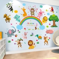 elephant lion wall stickers diy animal tree mural decals for kids rooms baby bedroom home decoration accessories