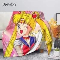 upetstory cartoon anime premium throw blanket print on demand sherpa blankets for sofa customized diy plush thin quilt