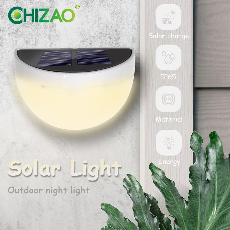 Chizao luz de parede externa, luz solar sem fio mini luz noturna iluminação decorativa para jardim cerca da porta da frente