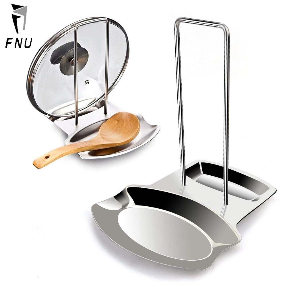 Tapa de acero inoxidable y utensilios de descanso de cuchara soporte de la tapa sostenedor de la cuchara soporte de la tapa del resto estante de utensilios de cocina soportes en plata