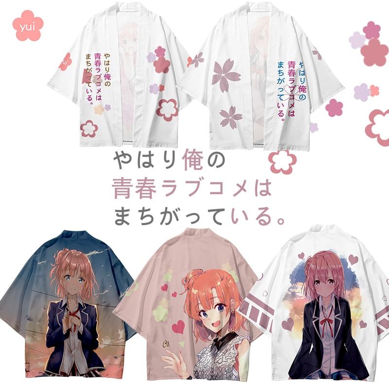 Anime My Youth Romantic Comedy Is Wrong Yuigahama Yui Cosplay Costume Summer Yukata Kimono Cloak Haori Cardigan Figure Top Shirt недорого