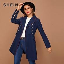 SHEIN noir revers col or bouton détail contraste passepoil hiver à manches longues élégant Outwear longs pois manteaux
