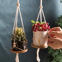 marble hanging handmade macrame flower pots simple planter wall decor courtyard home garden hanging basket