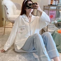 sleepwear women cotton thin long sleeve pajamas set spring and autumn cotton cute plus size loose home clothes schlafanzug