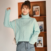 Chic Khaki 2021 New Autumn and Winter Thickening Pullover Turtleneck Sweater Women's Warm Cable-Knit