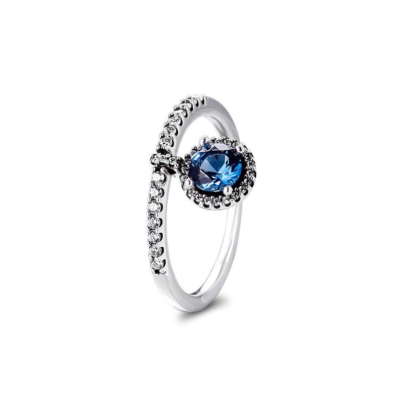 Qandocci Echt 925 Sterling Zilveren Bungelende Ronde Sparkling Ring Zilver 925 Ringen Diy Sieraden Voor Vrouwen Party Gift Groothandel