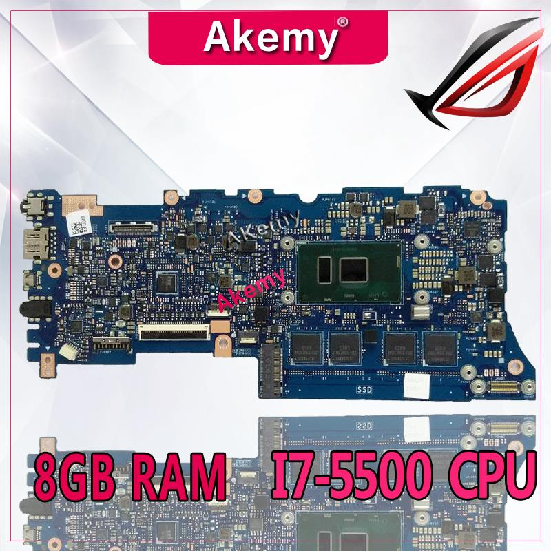 AKemy UX305LA لوحة الأم للكمبيوتر المحمول I7-5500 وحدة المعالجة المركزية 8GB RAM ل For Asus UX305L UX305LA اختبار اللوحة الرئيسية UX305LA اللوحة الأم اختبار 100% ok