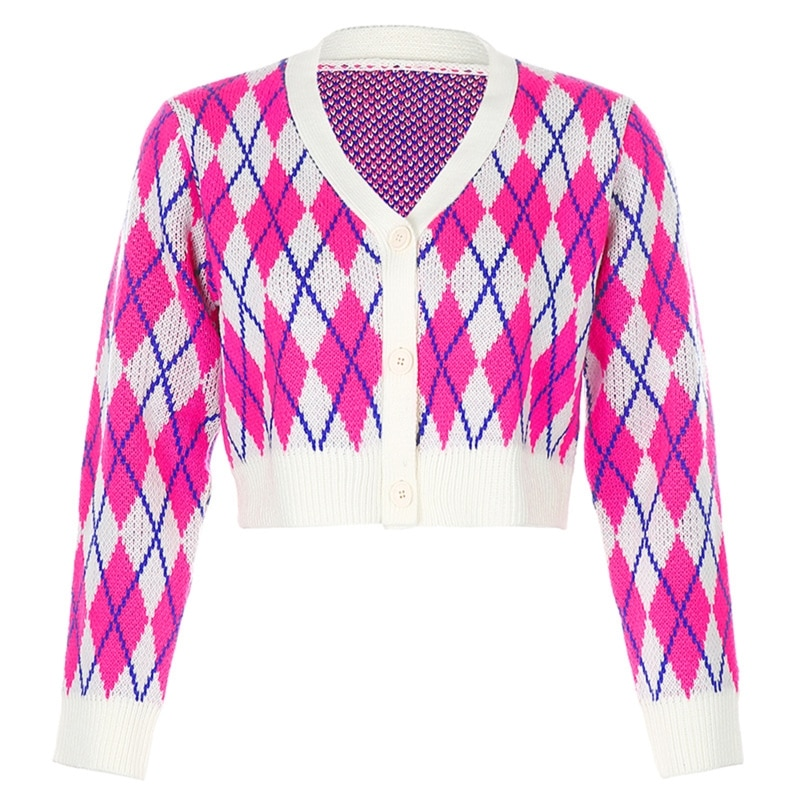 Women Long Sleeve Button Cardigan Cherry Embroidery Plaid Knitted Crop Top Coat enlarge