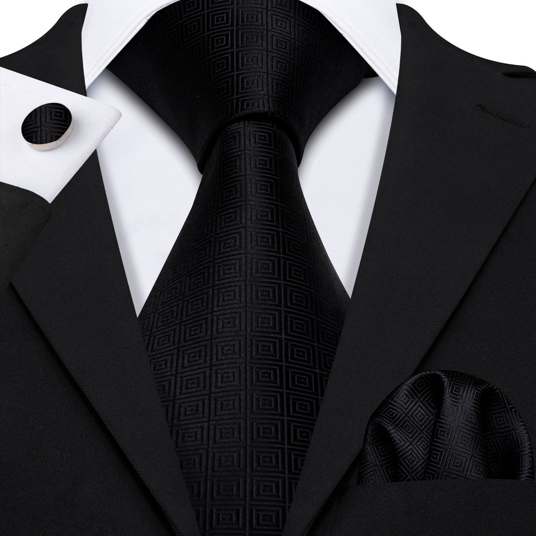 Black Geometric Tie Silk Tie For Men Wedding Tie Party Necktie Handkerchief Cravat Barry.Wang Fashion Designer Tie Set LS-5225