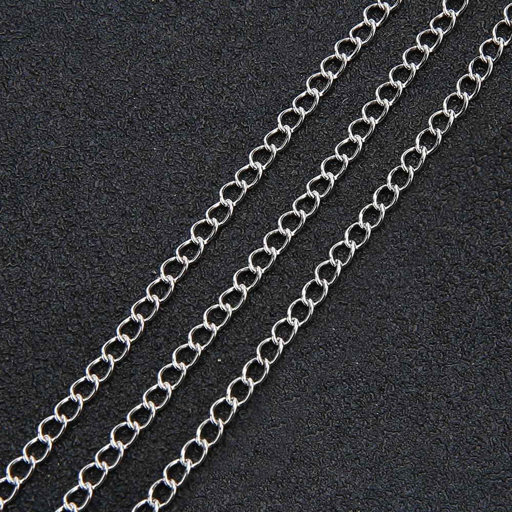 5 mètres/lot acier inoxydable ton argent 3x4mm 4x5mm prolonger queue chaîne en vrac collier pour bijoux à bricoler soi-même faire des résultats fournisseur