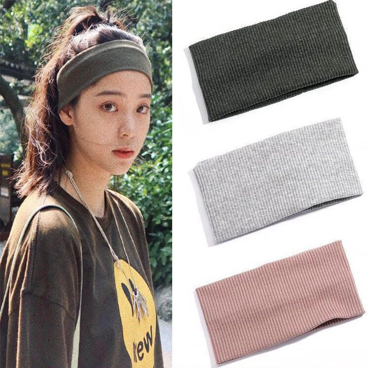 Women Headband Solid Color Wide Turban Ribbed Knitted Cotton Hairband Girls Lady Flat Elastic Sport Hair Bands Accessories elastic lacework wide sport headband