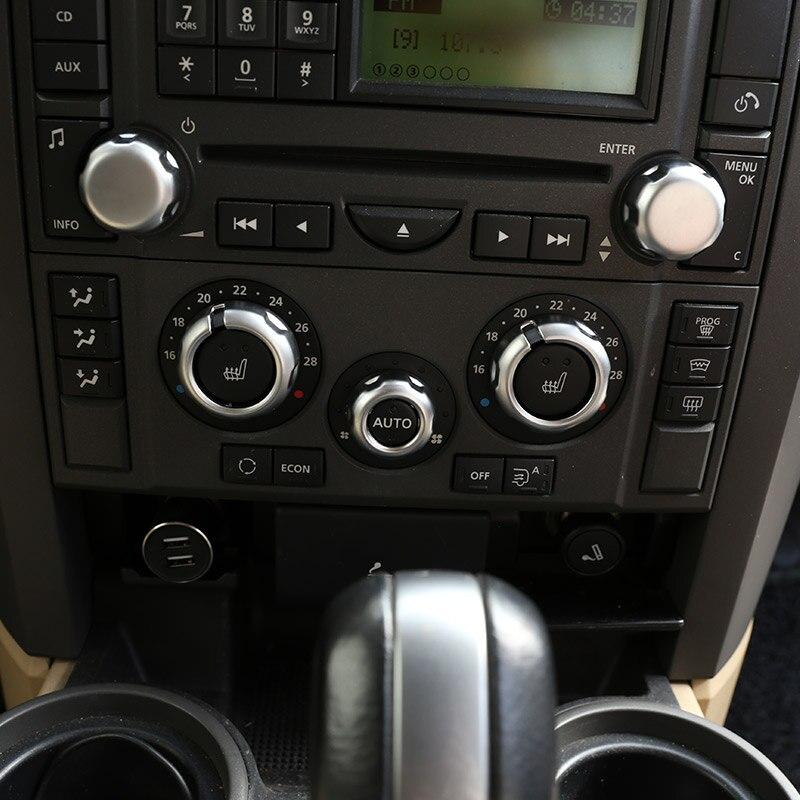 For Land Rover Range Rover Sport L320 2005 2006 2007 2008 ABS Chrome Car Air conditioner volume knob cover Trim Car Accessories car roof light a c volume knobs rear air outlet ring trim for land rover discovery 4 range rover sport freelander 2 accessories