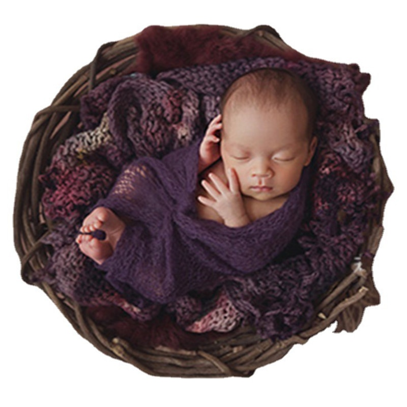 Baby Photography Props Manual Weave Rattan Basket Infant Photo Studio Child Shooting Newborn Fotografie Wooden Container