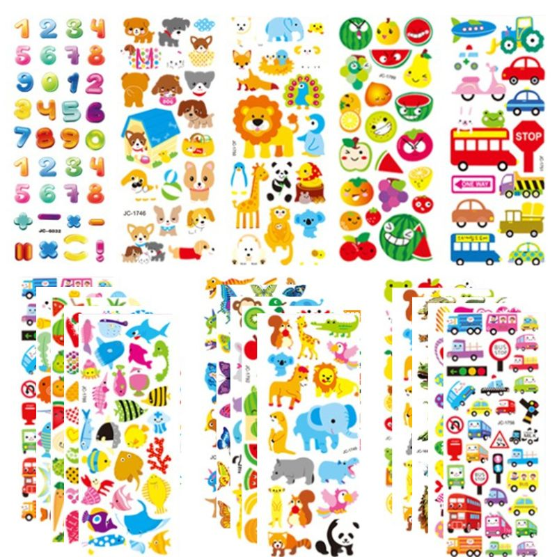 20sheets 3D Stickers for Kids & Toddlers 500+ Puffy Stickers Variety Pack for Scrapbooking Bullet Journal Including Animal, No.