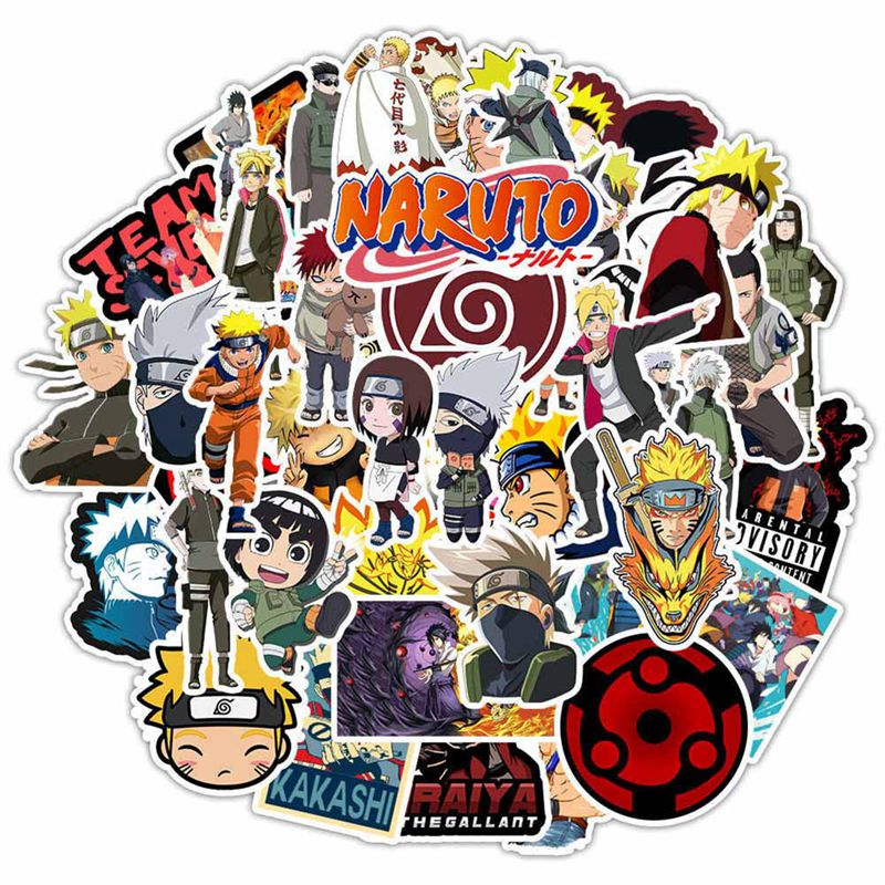 50 unids/lote clásico etiqueta Japón Anime pegatinas de Naruto dibujos animados para Snowboard portátil equipaje nevera coche pegatinas de grafiti