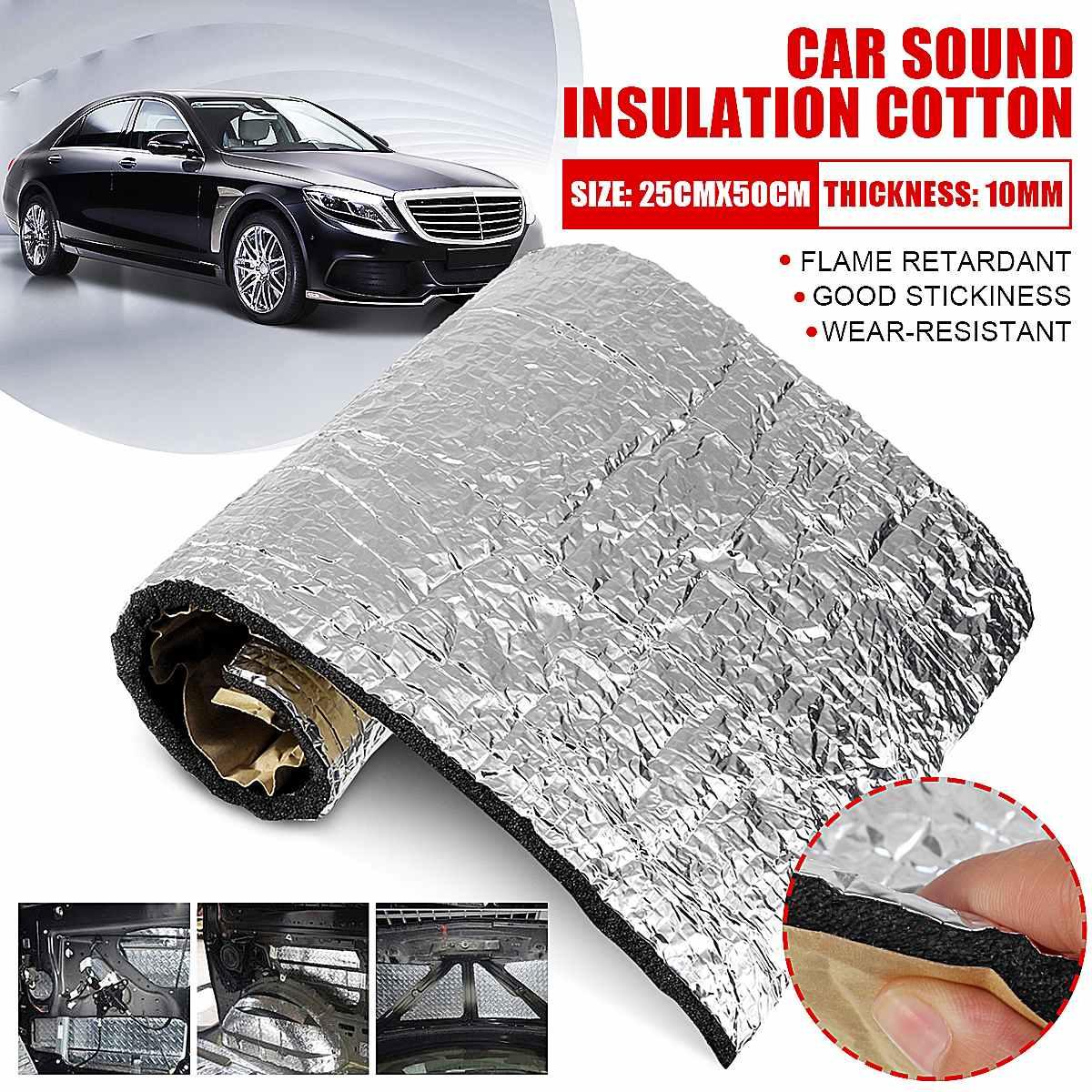 25x50cm 10mm Car Sound Deadener Insulation Cotton Mat Heat Noise Proofing Pad Anti-Noise Heat Inslution Mats