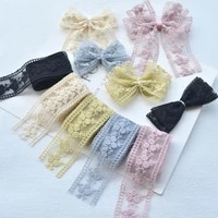 1 meter flowers embroidery lace organza stain ribbon for diy bowknot hairpin material gift bouquet packaing accessories