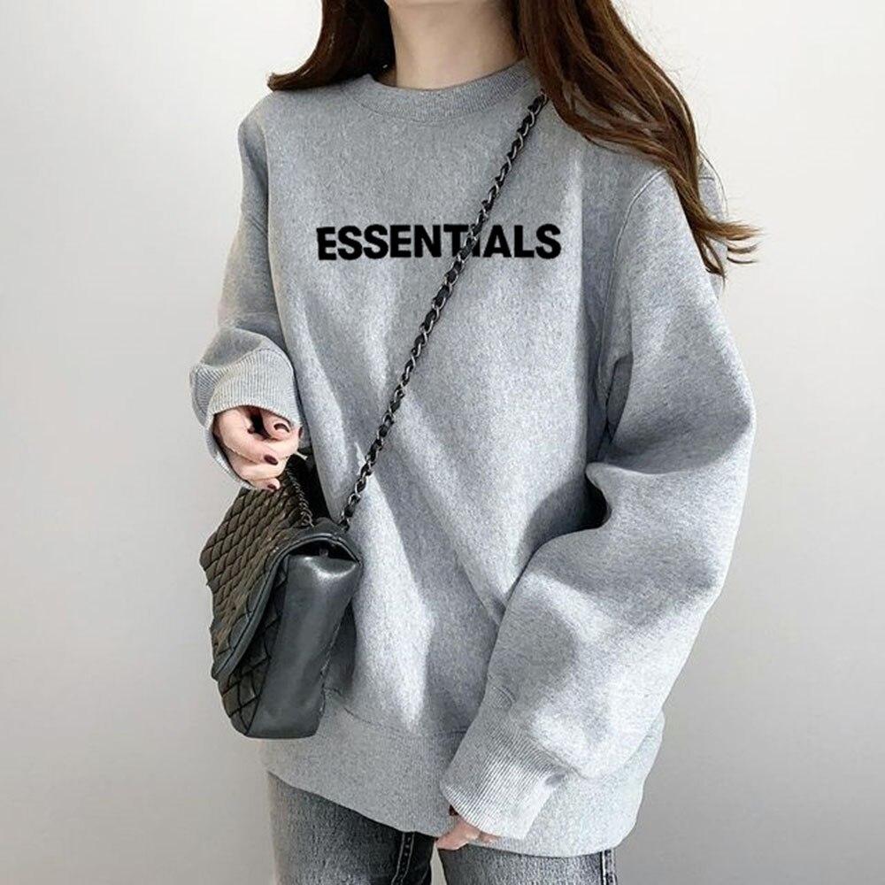 Autumn Clothes Korea Ladies Sweatshirt Round Neck Letter Print Loose Simple Hoodies Women Casual Pul