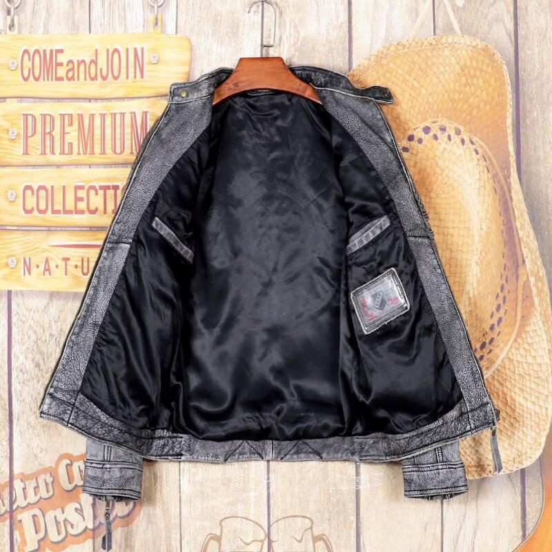 2021 Vintage رمادي جلد طبيعي سترة الرجال الوقوف طوق حجم كبير 5XL ريال الطبيعية جلد البقر الخريف سليم صالح معطف قصير