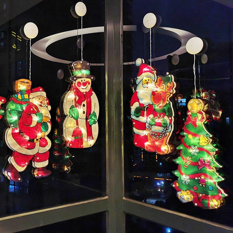 Новое поступление, светодиодное Рождественское украшение на присоске, светильник для окна комнаты, цветной светильник для окна, подвесной ...