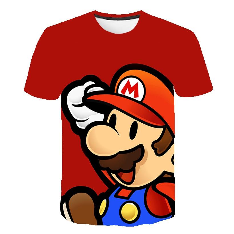 Забавная футболка для мальчиков; Новинка; Детская одежда с Марио; Крутая футболка; Брендовая футболка; Летняя футболка с 3D принтом; Одежда дл...