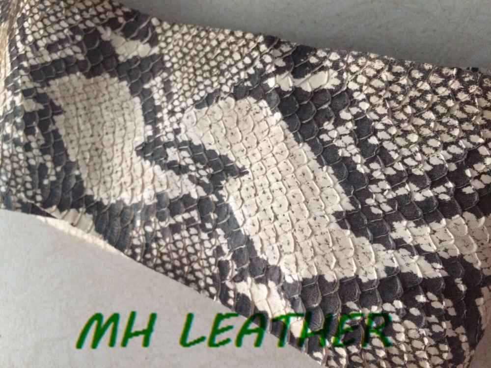 WS018 piel de serpiente genuina blanca y negra para cuero DIY, piel de serpiente para monedero de cinturón