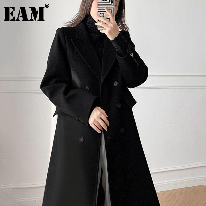[EAM] свободное двубортное толстое длинное шерстяное пальто, парки, новое женское модное пальто с длинным рукавом, Осень-зима 2021, 1DD2914
