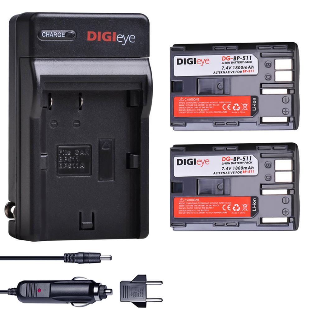 2 uds BP-511 BP-511A baterías + cargador para Canon EOS 5D 10D...