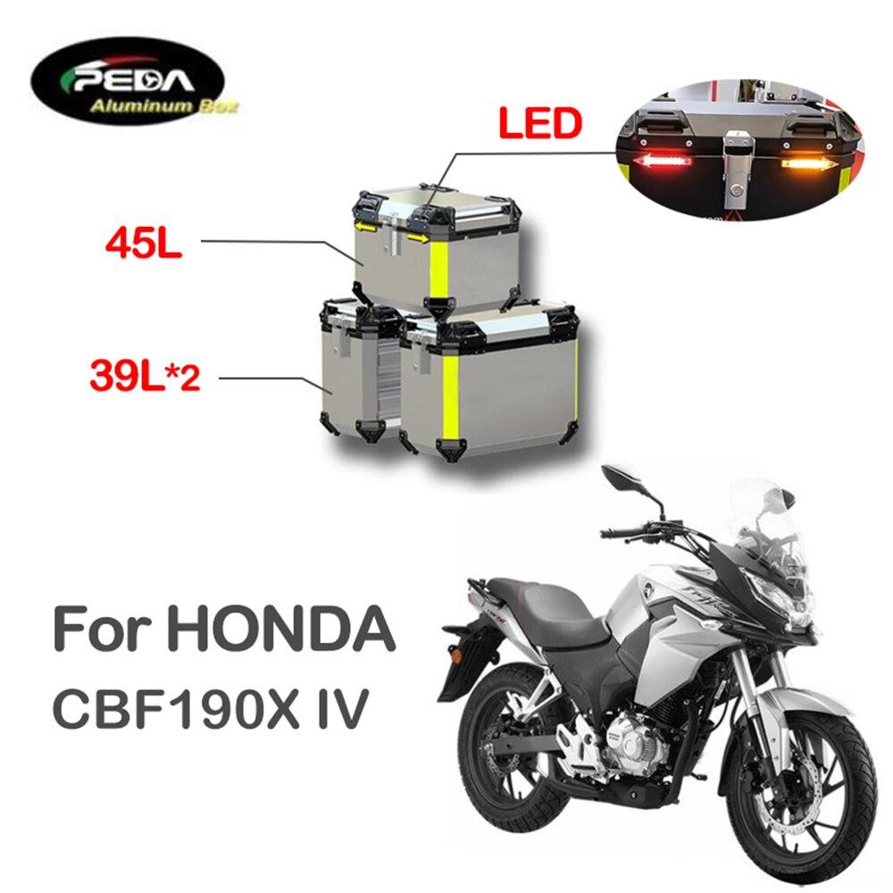 V5-20 دراجة نارية الألومنيوم صندوق مع LED Winker 45L المزدوج 39L Panniers الجانب العلوي الحقيبة الجانبية لهوندا CBF190X IV الجذع الخلفي
