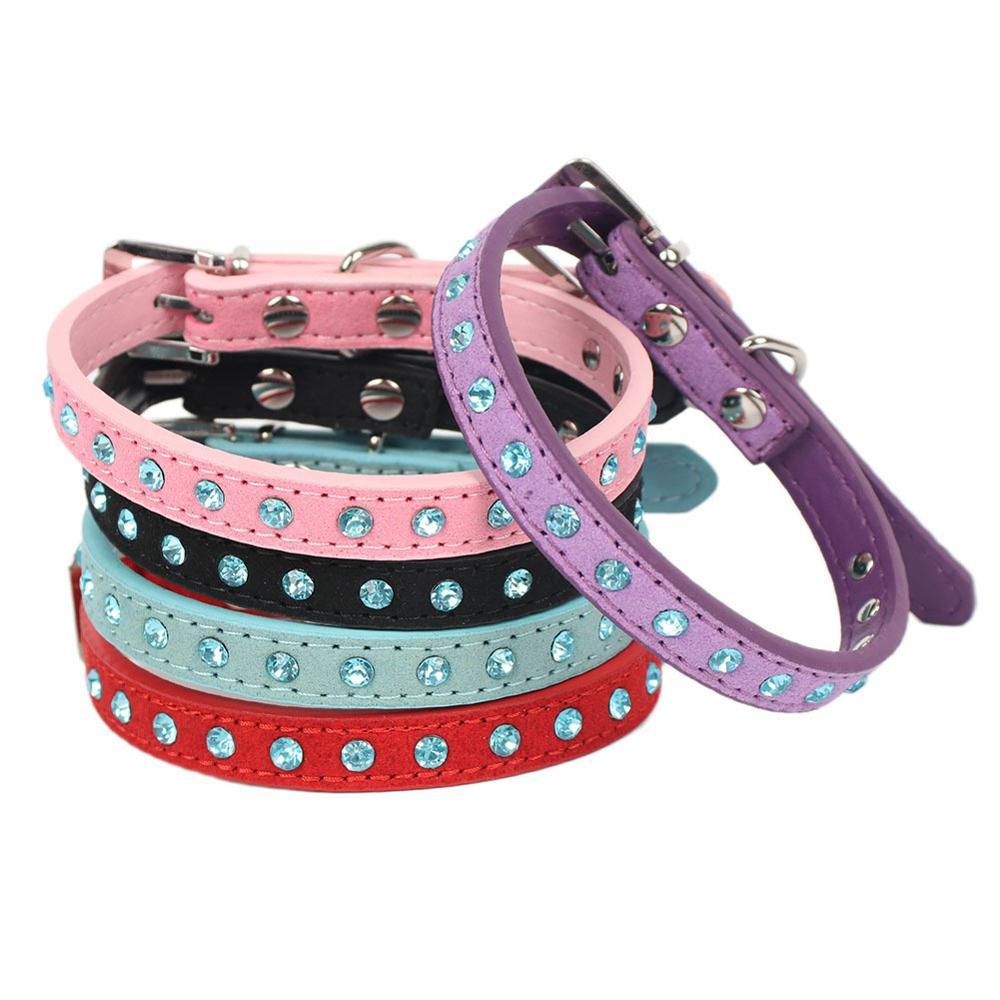 Collar ajustable de perro mascota de Diamantes Azul para perros y gatos...