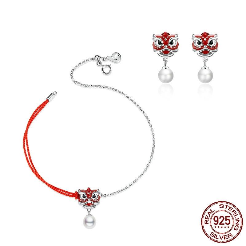 Pulsera de perlas bisutería con esmalte rojo de danza del león pulsera de perlas bisutería de Plata de Ley 925 primavera Fesitival Bijoux ZHS186