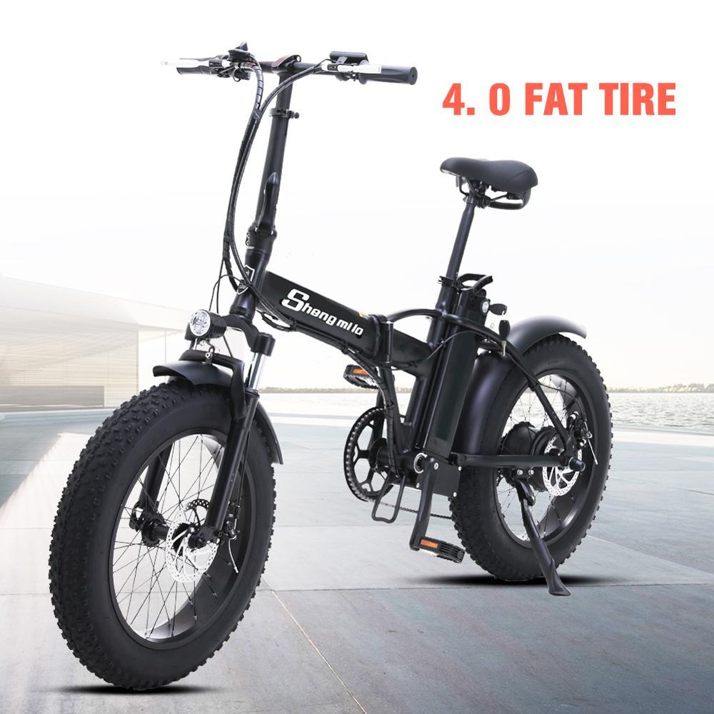 Bicicleta Eléctrica Shengmilo, bicicleta eléctrica ebike de 20 pulgadas, moto de nieve 48V500W, bicicleta eléctrica plegable 4,0, neumático grueso, bicicleta eléctrica