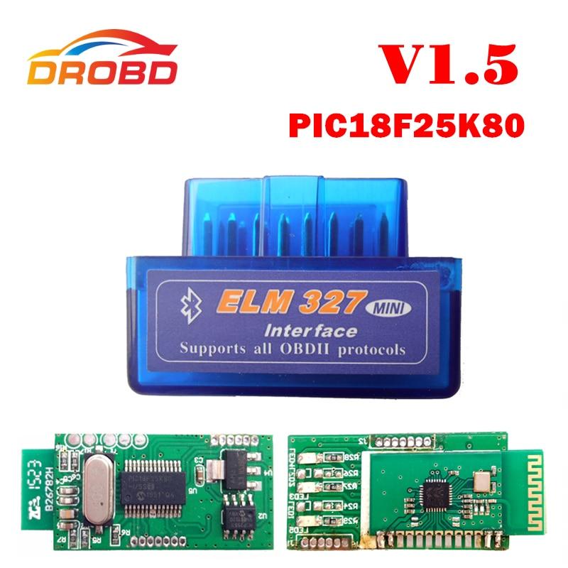 ELM 327 Version 1.5 V1.5 Super MINI Bluetooth ELM327 With PIC18F25K80 Chip OBD2 / OBDII for Android Code Reader Diagnostic-Tool