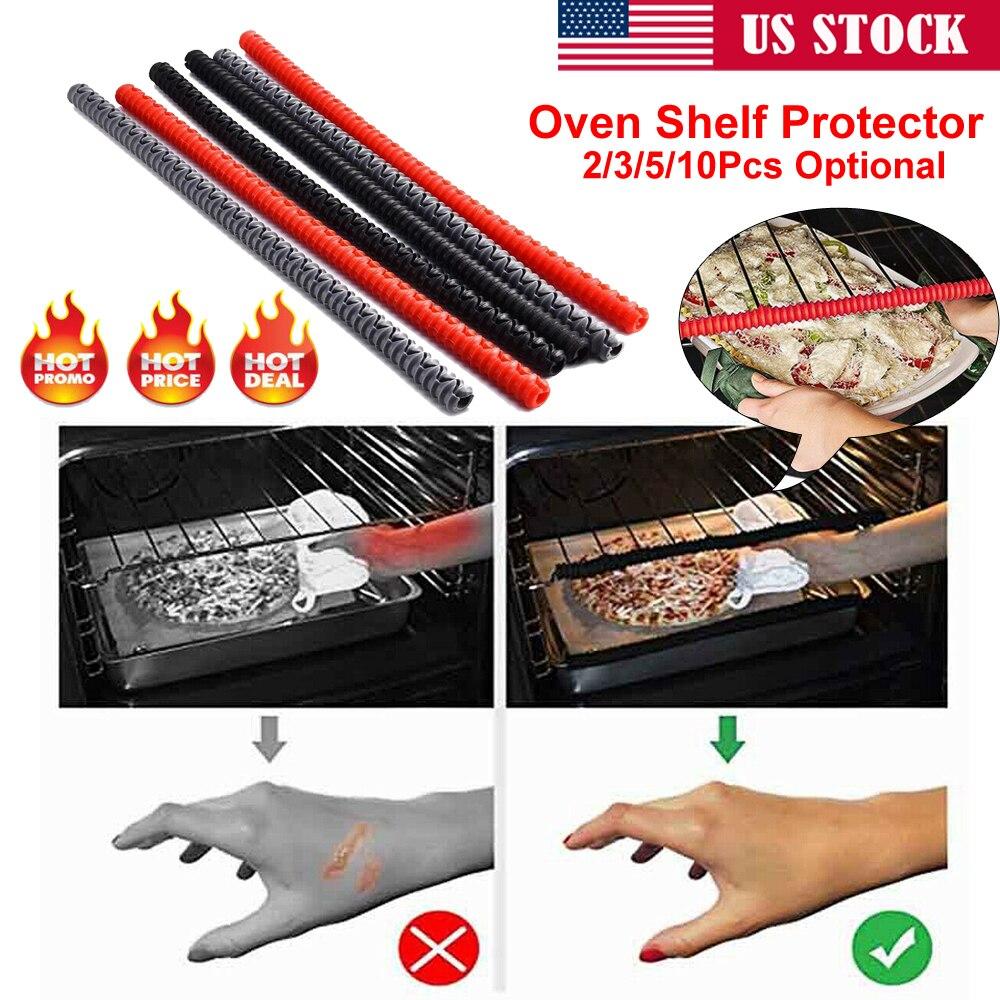 Us 1 pces forno rack prateleira bandeja guarda nova silicone calor segurança tira resistente ao calor